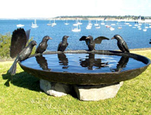Special Occasion Gift Ideas for men and ladies: Aussie Magpie Birdbath Bowl as seen in Country Style Magazine, Australia