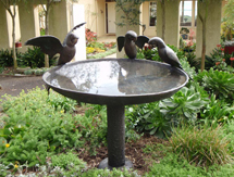 Bird Sculpture: Macaw Birdbath - launched at the Architectural Digest Design Show, New York, USA