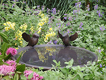 UK Garden Sculpture: Blue Tit Birdbath Dish as seen in The English garden Magazine, UK