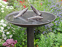 Fish Sculpture: Trout with Dragon-fly Birdbath - launched at the Architectural Digest Design Show, New York, USA