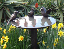 USA Garden Sculpture: Blue Jay Birdbath - launched at the Architectural Digest Design Show, New York, USA