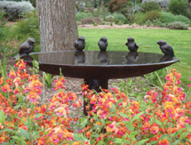 Garden Sculpture: Robin Birdbath - launched at the Chelsea Flower Show, London, UK